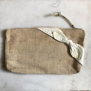Vintage leather jute bow clutch rectangle zip